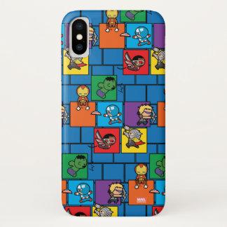 Kawaii Avengers In Colorful Blocks iPhone X Case