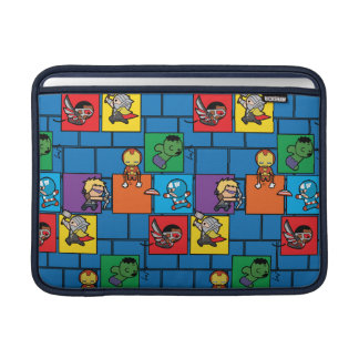 Kawaii Avengers In Colorful Blocks MacBook Sleeve