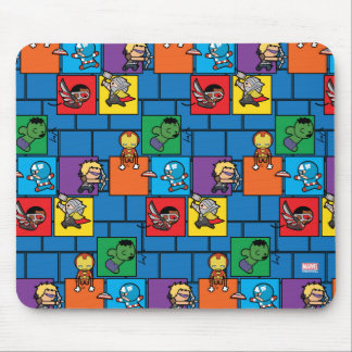 Kawaii Avengers In Colorful Blocks Mouse Pad