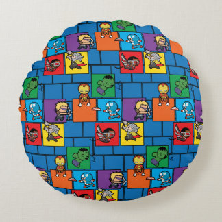 Kawaii Avengers In Colorful Blocks Round Cushion