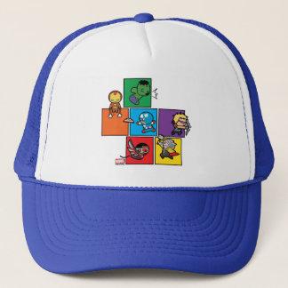 Kawaii Avengers In Colorful Blocks Trucker Hat
