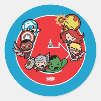 Kawaii Avengers Inside A-Logo Classic Round Sticker