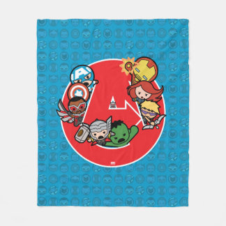 Kawaii Avengers Inside A-Logo Fleece Blanket