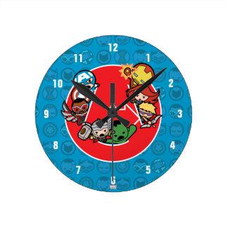 Kawaii Avengers Inside A-Logo Round Clock