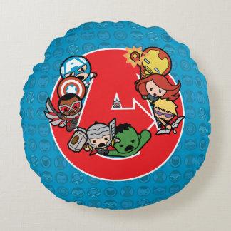 Kawaii Avengers Inside A-Logo Round Cushion