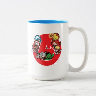 Kawaii Avengers Inside A-Logo Two-Tone Coffee Mug
