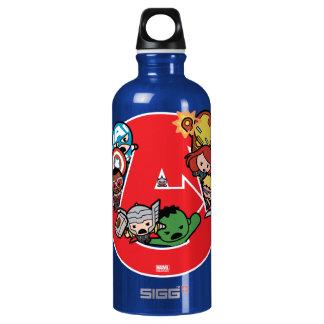Kawaii Avengers Inside A-Logo Water Bottle