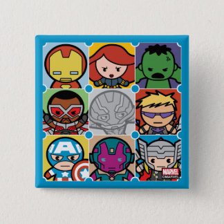 Kawaii Avengers Vs Ultron Pattern 15 Cm Square Badge