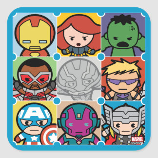 Kawaii Avengers Vs Ultron Pattern Square Sticker