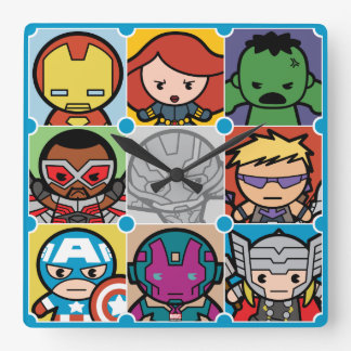 Kawaii Avengers Vs Ultron Pattern Square Wall Clock