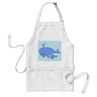 Kawaii Baby Whale and Mama Whale Standard Apron