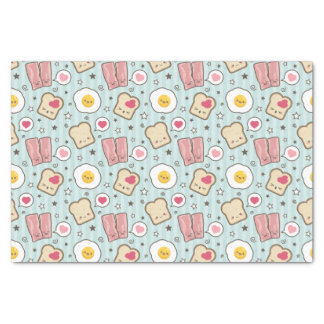 "Kawaii Bacon & Fried Egg Deconstructed Sandwich 10"" X 15"" Tissue Paper"