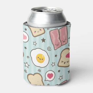 Kawaii Bacon & Fried Egg Deconstructed Sandwich Can Cooler
