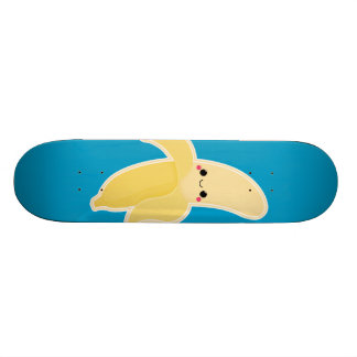 Kawaii Banana on Blue Skateboard Deck