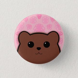 Kawaii Bear and Flowers (Brown Bear) 3 Cm Round Badge