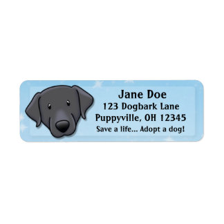 Kawaii Black Lab Return Address Label