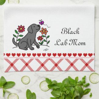 Kawaii Black Labrador Cartoon Tea Towel