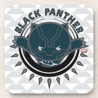 Kawaii Black Panther Logo Coaster