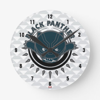 Kawaii Black Panther Logo Round Clock