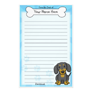 Kawaii Black & Tan Dachshund Stationery