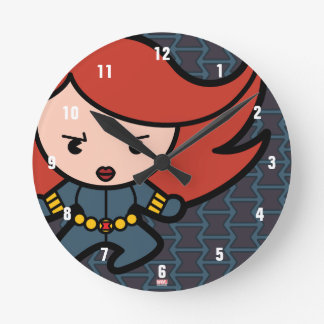 Kawaii Black Widow Dash Round Clock