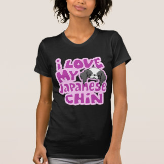 Kawaii Blk I Love My Japanese Chin T-Shirt