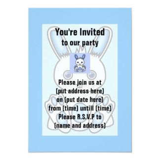 Kawaii Blue Bunny 13 Cm X 18 Cm Invitation Card