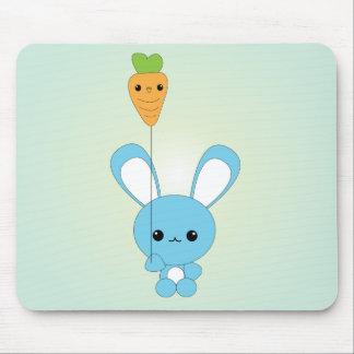 Kawaii Blue Bunny and Carrot Balloon mouse pad