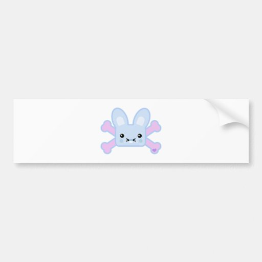 kawaii blue crossbones bunny bumper sticker