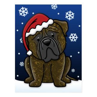 Kawaii Brindle Bullmastiff Christmas Postcard