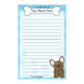 Kawaii Brindle French Bulldog Stationery