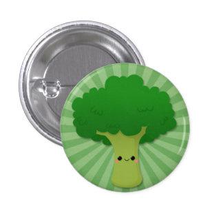 Kawaii Broccoli on Green Starburst 3 Cm Round Badge