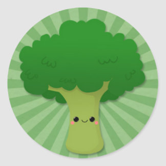 Kawaii Broccoli on Green Starburst Classic Round Sticker