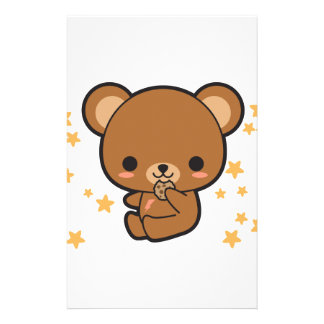 Kawaii Brown Bear Personalized Stationery