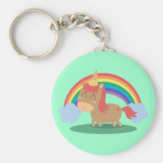 Kawaii Brown Horse trying to be a Unicorn Key Ring