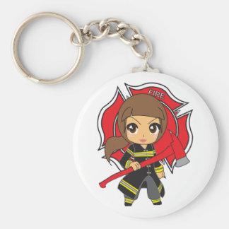 Kawaii Brunette Firefighter Girl Basic Round Button Key Ring