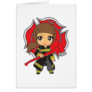 Kawaii Brunette Firefighter Girl Card