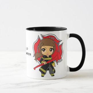 Kawaii Brunette Firefighter Girl Mug