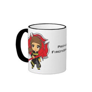 Kawaii Brunette Firefighter Girl Ringer Coffee Mug