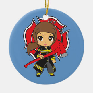 Kawaii Brunette Firefighter Girl Ornament