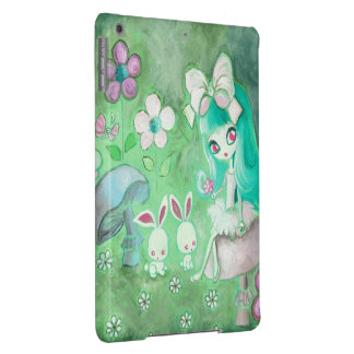 Kawaii Bunnies And Girl On Mushroom Cover For iPad Air