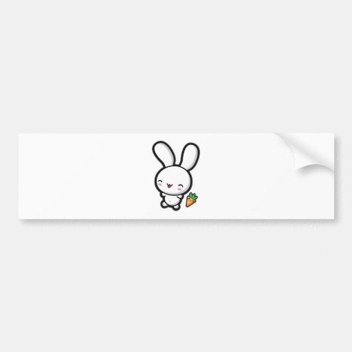 Kawaii Bunny and Carrot Bumper Stickers