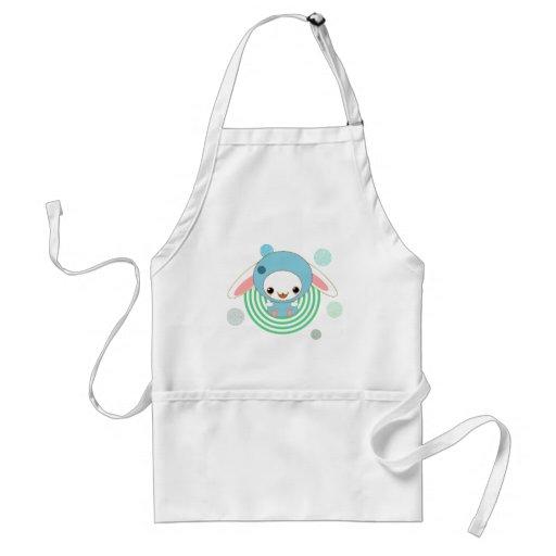 kawaii bunny blue apron