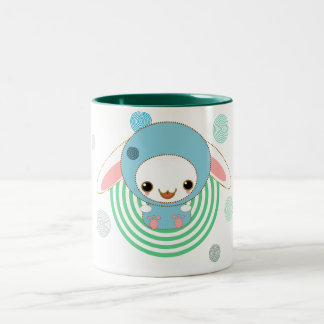 kawaii bunny blue Two-Tone coffee mug