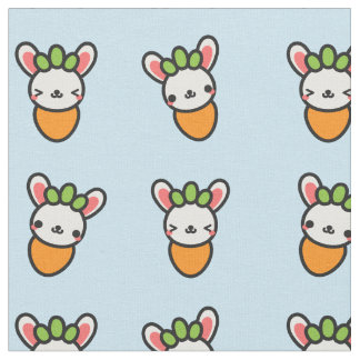 Kawaii Bunny Carrot with Blue Background Fabric