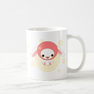 kawaii bunny pink basic white mug