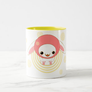 kawaii bunny pink Two-Tone coffee mug