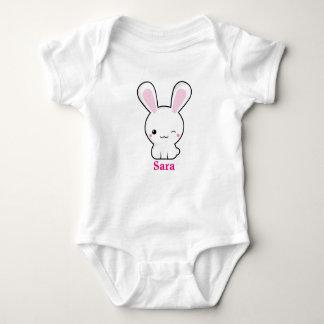Kawaii bunny with personalize text baby bodysuit