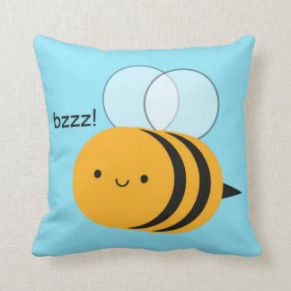 Kawaii Buzzy Bumble Bee Throw Pillow