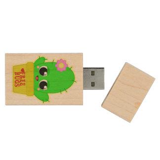 Kawaii Cactus Wood USB Flash Drive